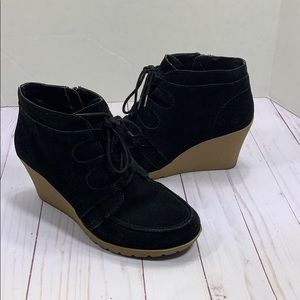 MIA suede black Berdina lace up wedges